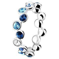 Zilveren ring Swarovski blauw (1018332)