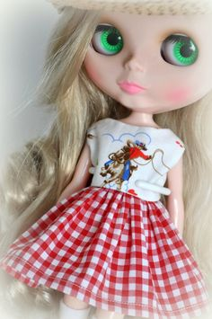 Blythe Doll Dress in Vintage Style Cath Kidston Cowboy Print.