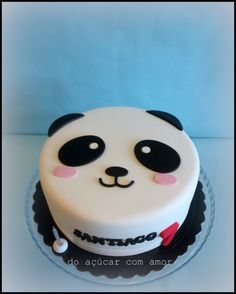 This one is for you, my sweet big BOY Love U with all my HEART Long live Tigui Nice! Panda Birthday Cake, Bithday Cake, No Bake Cookies, Cake Cookies, Cupcake Cakes, Cake Pops, Bolo Panda, Panda Cakes, Panda Party