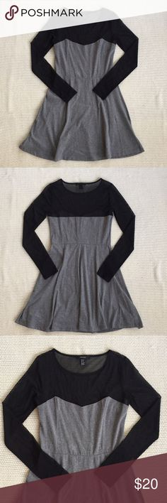 Mesh Sleeve Skater Dress Gray skater dress with sweetheart neckline. The top portion is sheer black mesh. Gray part - 96% cotton, 4% spandex. Black part - 85% polyester, 15% spandex. Forever 21 Dresses