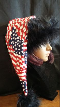 52baca4258ae6 Items similar to Patriotic Stocking style Santa hat on Etsy