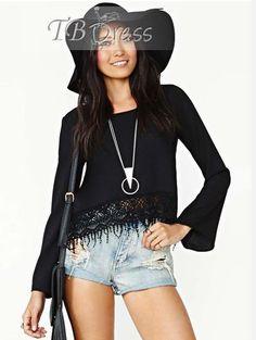 Adorable Long Sleeves Lace Laciness Black Chiffon Blouse