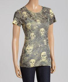 Loving this Black & Yellow Skull 'n' Crossbones Burnout Tee on #zulily! #zulilyfinds
