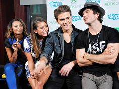 Nina Dobrev and ex Ian Somerhalder were all smiles with their Vampire Diaries costars Kat Graham and Paul Wesley during a Skype chat for Xbox One in the Microsoft VIP Lounge at Comic-Con in San Diego, Calif., on Saturday, July 26, 2014.