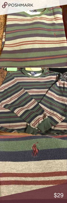 Polo striped crew neck Large sweatshirt, EUC!! Excellent condition Men's Large crew neck horizontally stripped sweatshirt. Only worn  a couple times and has a great traditional look for any occasion! Polo by Ralph Lauren Sweaters Crewneck