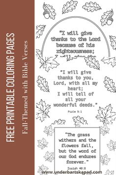 Bible Verse Coloring Page, Fall Coloring Pages, Coloring Pages To Print, Free Printable Coloring Pages, Adult Coloring Pages, Coloring Pages For Kids, Free Printables, Fall Bible Verses, Encouraging Bible Verses