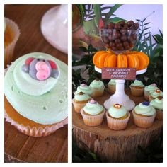 Cupcakes at a jungle first birthday party! See more party ideas at CatchMyParty.com!