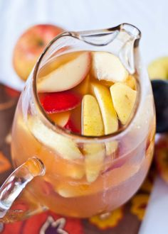 Autumn Sangria Serves: 6 Ingredients 1 bottle of pinot grigio 3 cups apple cider + ¼ cup maple syrup whisked in (the maple syrup pa...