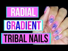 PINK/BLUE RADIAL GEL POLISH GRADIENT   TRIBAL NAIL STAMPING - http://www.nailtech6.com/pinkblue-radial-gel-polish-gradient-tribal-nail-stamping/
