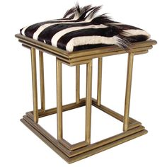 Modernist Brass and Zebra Hide Stool - circa 1970's  SOLD