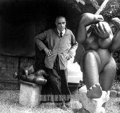 Henri Laurens portrait of the French sculptor next to his sculptures in his workshop of the Villa Brune in Paris in 1952 18 February 1885 5 May 1954 .