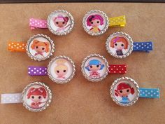 8 lalaloopsy bottlecap clips... also Belle Ariel by bellecaps, $15.60