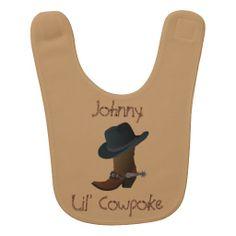 #Cowboy Boot and Hat Baby Bib