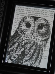 Harry Potter Book Print Owl Book Print Upcycled Book Page