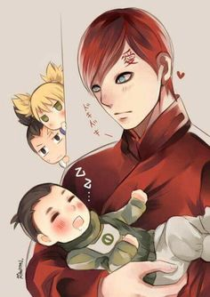 Aww ♥ Uncle Gaara holding baby Shikadai ♥♥♥ Temari and Shikamaru are spying ♥