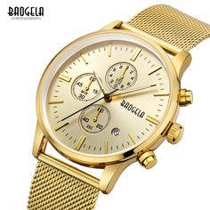 21.99$  Watch now - http://alic3w.shopchina.info/go.php?t=32747414362 - Baogela Mens Chronograph Waterproof Quartz Watches Fashion Stainless Steel Strap Luminous Canlendar Wristwatch for Man 1611 Gold 21.99$ #buymethat