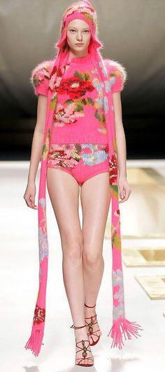 KENZO :: girly florals, pink fluffy sweater