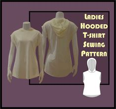 Ladies Hooded Tshirt Sewing Pattern Large Format Printing, Print Format, T Shirt Sewing Pattern, Sewing Patterns, Yoga Shorts, Workout Shorts, Weird Shapes, Hooded Scarf, Summer Set
