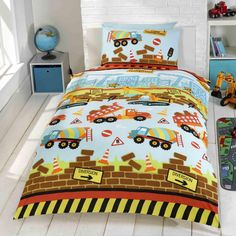 Under Construction single duvet cover - diggers, trucks everywhere, great for boys that just love diggers