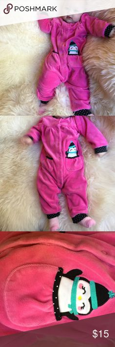 Charters baby Girl 12m pink velour snap-up pajamas Like New. Carter's So-Cute Size 12 Month Baby Girl. Penguin patch pocket decoration the front. Black & white Polkadot trim on pink velour. Really makes these precious PJ's pop! #Adorable ideal 6 - 12 Months. *pink fleece socks included. #HappyPoshing Carter's Pajamas Pajama Sets