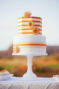 Orange stripes ~ Gideon Photography // Cake: Sweet Cakes by Karen