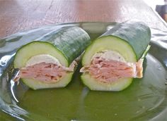 """Cucumber Subs// No carbs but lots of crunch. Such a great idea!!! Yeah! And for those of us who don't care for bread!"