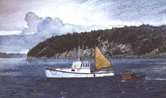 """Tidelands"" Watercolor. This small watercolor was done for a miniature show at the Mystic Maritime Gallery in Mystic, Connecticut. The scene is a Beal's Island lobsterboat anchored near Roque Island, Maine. The original painting measures about 6 1/2"" X 11""."