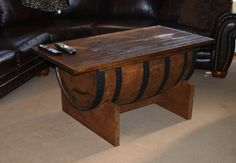 A man room must have.   BOURBON BARREL COFFEE table by BluegrassBourbonBarr on Etsy, $500.00