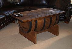 A man room must have.   BOURBON BARREL COFFEE table by BluegrassBourbonBarr on Etsy, $500.00