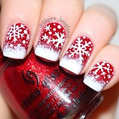 Christmas snowflake nails.