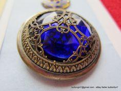 WOW!  Cobalt Blue Glass Set in Brass Vintage Buttons - buttongirl7@gmail.com