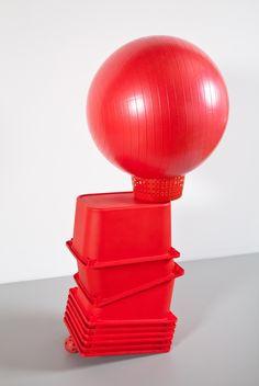 "Dylan Lynch [USA] (b 1987) ~ ""Untitled"", 2012. Buckets, fitness ball, wiffle ball (134.6 × 84 x 58.4 cm).   b   #art #sculpture #installation #conceptualart"