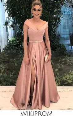 A-Line Off-The-Shoulder Satin Prom Formal Dress With Split, This dress could be custom made, there are no extra cost to do custom size and color Pink Prom Dresses, Junior Bridesmaid Dresses, Satin Dresses, Chiffon Dresses, Party Dresses, Formal Prom, Formal Evening Dresses, Dress Formal, Women's Fashion Dresses