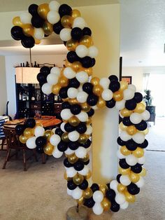 30th birthday balloons. Gold, black and white.