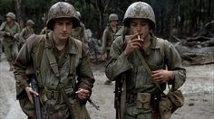 In Stephen Spielbergs The Pacific Eugene Sledge (Joseph Mazzello) Is given the nickname Sledgehammer by Snafu (Rami Malek) this due to the fact that they both worked in construction when they were civilians. Eugene Sledge, John Basilone, Saints And Soldiers, Amazon Prime Shows, Little Dorrit, Really Good Movies, Rami Malek, Band Of Brothers, Film Stills