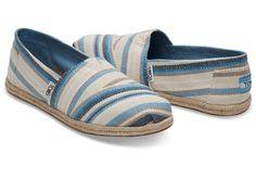 TOMS BLUE ASTER WOVEN STRIPE WOMEN'S ESPADRILLES SHOES. Style 10009700 #TOMS #adaniasboutique #shopping #shoes #ocboutiques #shop