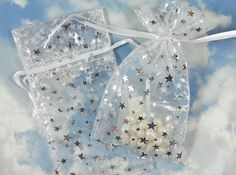 12 Silver Stars Organza Gift Bags on White 3 x 4 Goodie Bag Wedding Favors Jewelry Pouch (B30) via Etsy