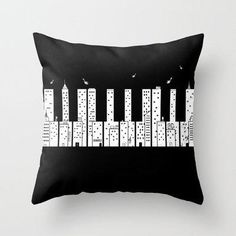 Piano Skyline Throw Pillow by Lawrence Villanueva | Society6 from Society6. Saved to Epic Wishlist. #piano #pillow #music #skyline.