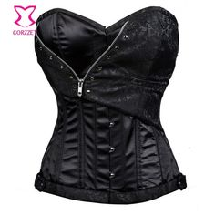 Zipper Black Overbust Corset Steel Boned Waist Training Corsets Plus Size Gothic Steampunk Clothing Women Sexy Burlesque Costume //Price: $US $28.26 & Up To 18% Cashback // #steampunktendencies