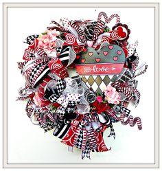 Valentine Wreath - Valentine Harlequin Wreath- Valentine Decor - Valentine Heart - Valentine Gift - Love Wreath - Love Decor - Harlequin by TheNakedDoorLLC on Etsy