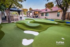 Are you thinking about installing a PuttTek Putting Course? Give us a call Wed love to dream up your project together . Artificial Putting Green, Golf Putting Green, Backyard Putting Green, Golf Green, Backyard Sports, Backyard Pool Landscaping, Backyard Ideas, Adventure Golf, Attic Bedroom Designs