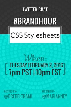 Do CSS Stylesheets {a.k.a blog/website customizations} feel like learning latin? Join @marianney and I on 2/2/16 at @7pm PST for our #brandhour Twitter chat....we'll be diving in to the what, why, and how of CSS for DIYers. We'll see ya there...