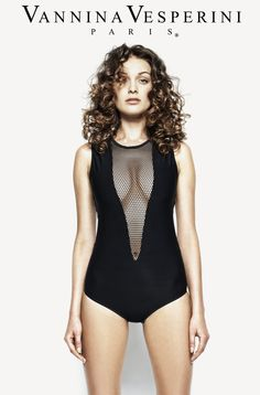 Vannina Vesperini S/S 15 Collection. Swimwear 'Bain Couture' theme. One-piece swimsuit, appliqued at the plunging v-neck with tulle panel in Black color