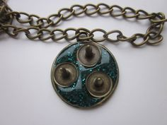 Pendant Green with Studs by GreenwoodMakes on Etsy, £10.00