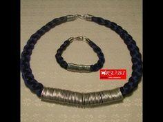 Collar y pulsera trenzado con espiral de alambre