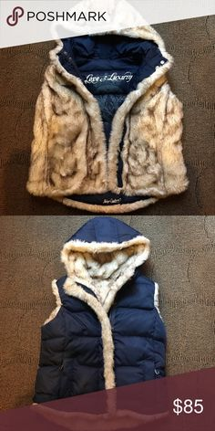 JUICY COUTURE - reversible faux fur hooded vest Excellent used condition -- ultra soft ultra luxe vest from Juicy Couture -- made in the glamorous USA Juicy Couture Jackets & Coats Vests