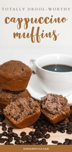 Breakfast Recipes, Snack Recipes, Muffin Recipes, Baking Recipes, Coffee Muffins, Breakfast Muffins, How To Make Cappuccino, Delicious Desserts, Yummy Food