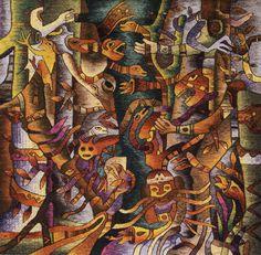 "Handwoven Tapestry by Maximo Laura ""Caminante mayor en la jungla"", 120 x 120 cm.  http://maximolaura.com/"