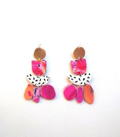 Colourful Pink and Patterned Dangle by Mazdevallia on Etsy https://www.etsy.com/listing/540509220/abstract-earrings-polymer-clay-earrings