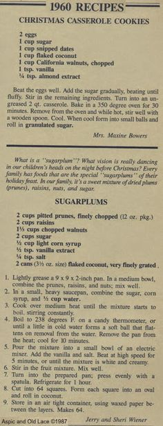 1960 Recipes -Christmas Casserole Cookies and Sugarplums